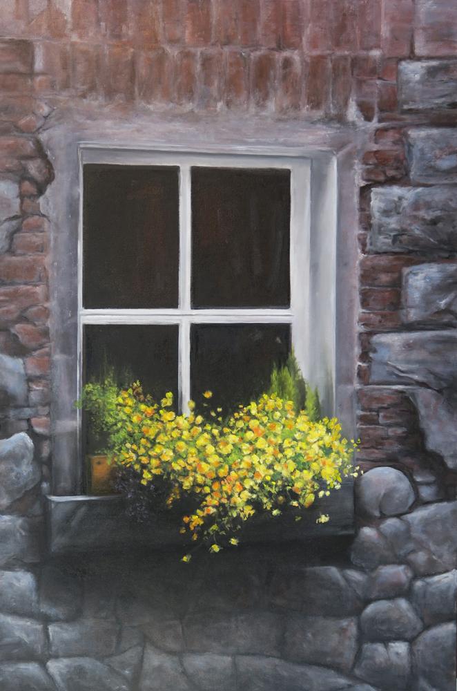 """Gino Sauro.  Fenêtre et boite a fleurs jaune Huile sur toile. 24""""x36"""""""