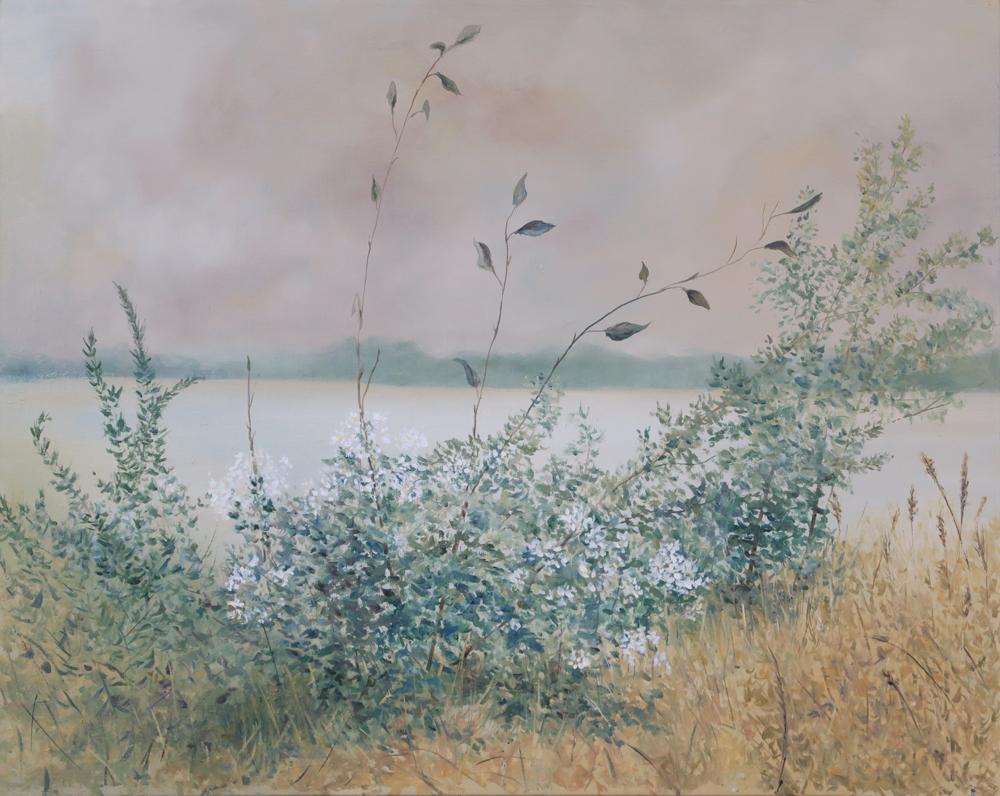 """Gino Sauro. Vue le lac. 16""""x20""""."""