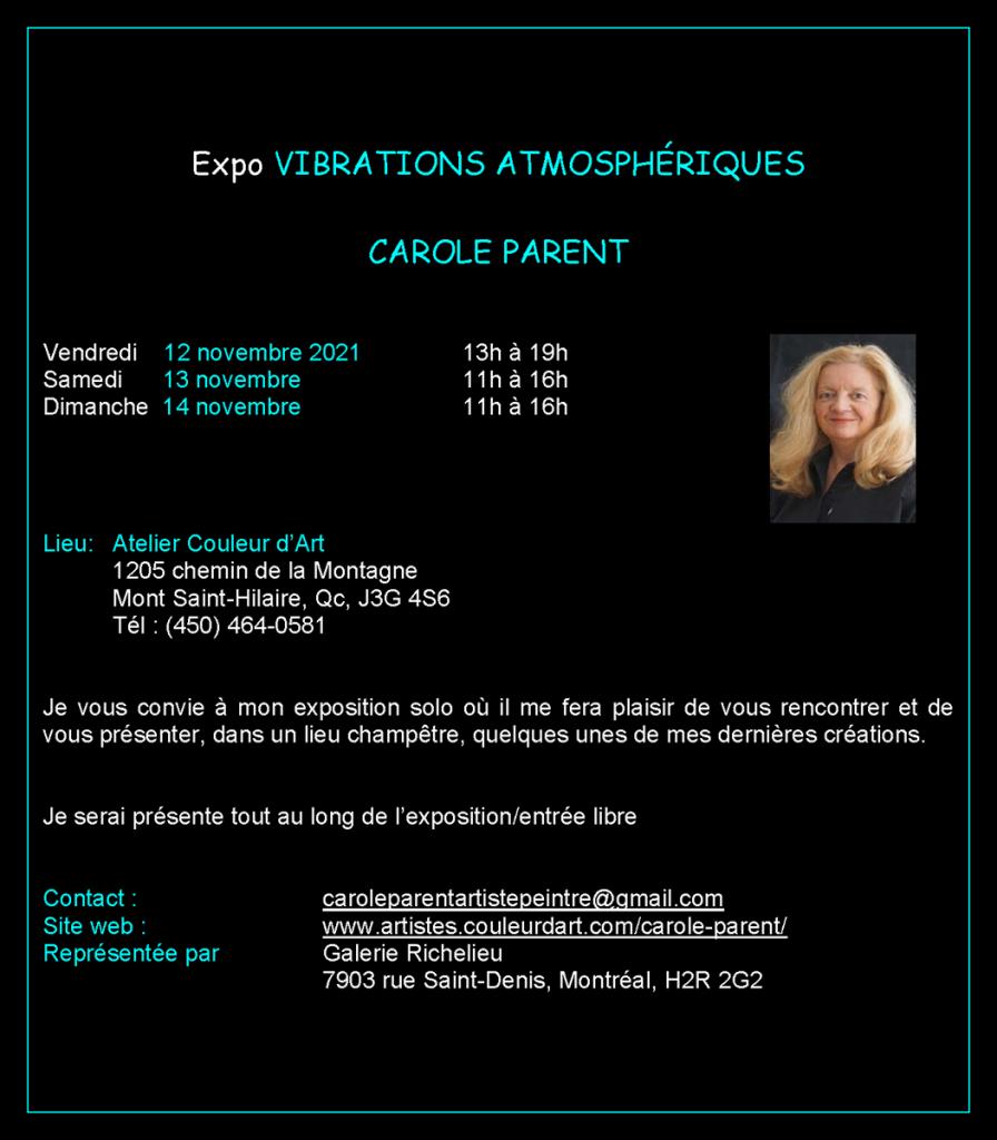 Carton exposition à venir de Carole Parent