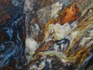 """Carole Parent. Au coeur du volcan 1 (série).  Huile sur toile 12""""x16"""". Disponible"""