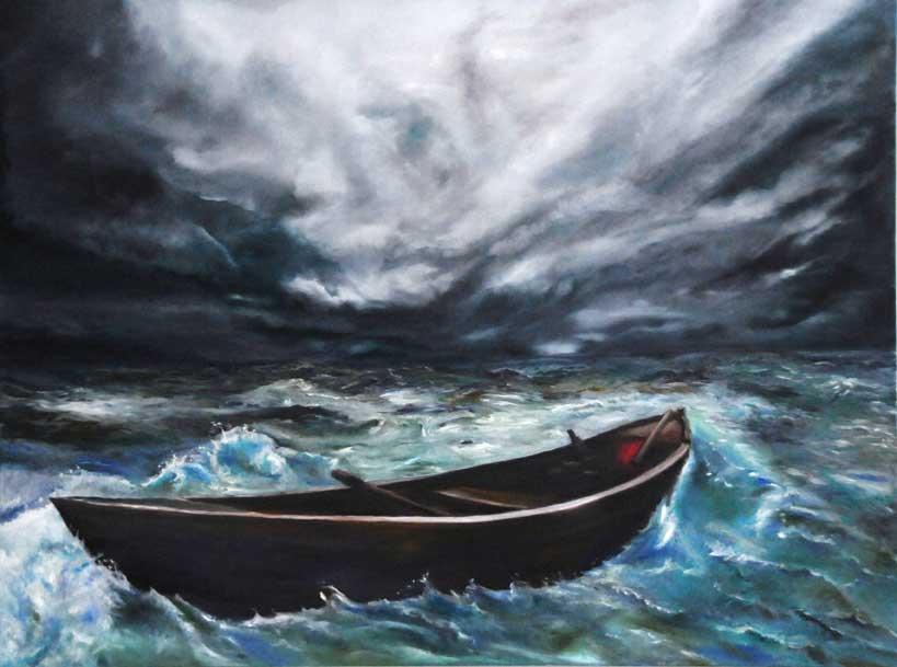 """Philippe Berthet - Début de tempête- Huile sur toile -40""""x30""""- 920.$  Inspiration photographique (photographe inconnu)"""
