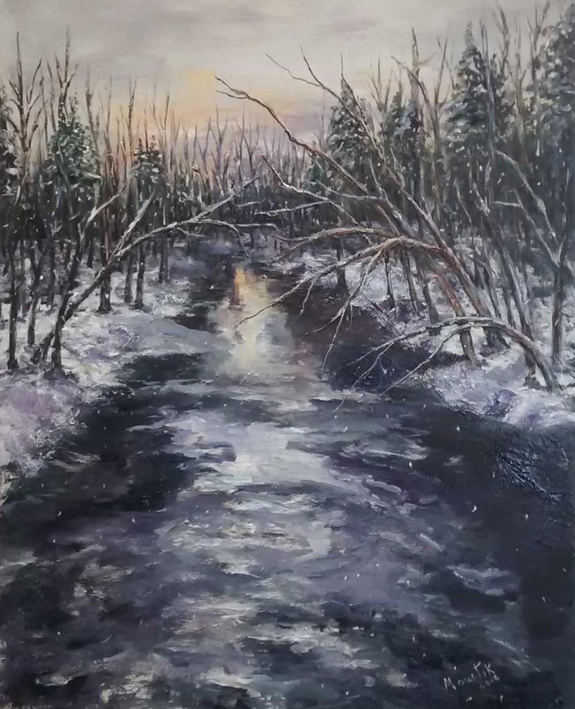 """Moustik. Et tombe la neige.Huile sur toile.16"""" X20"""" -  2016. 350.$"""