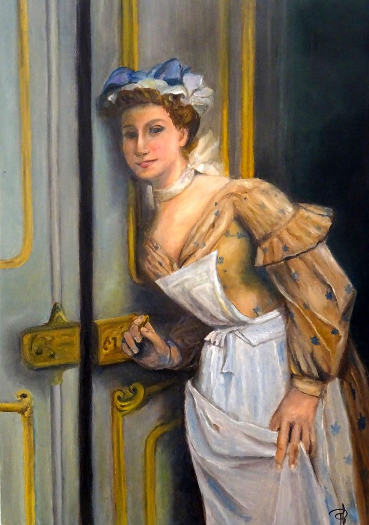 Philippe Berthet. La servante. Huile sur toile. (20x28)  inspiration d'un oeuvre de l'artiste?