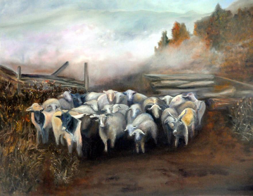 """Philippe Berthet.. Le troupeau. Huile sur toile. 24"""" x 30"""" (750.$)"""
