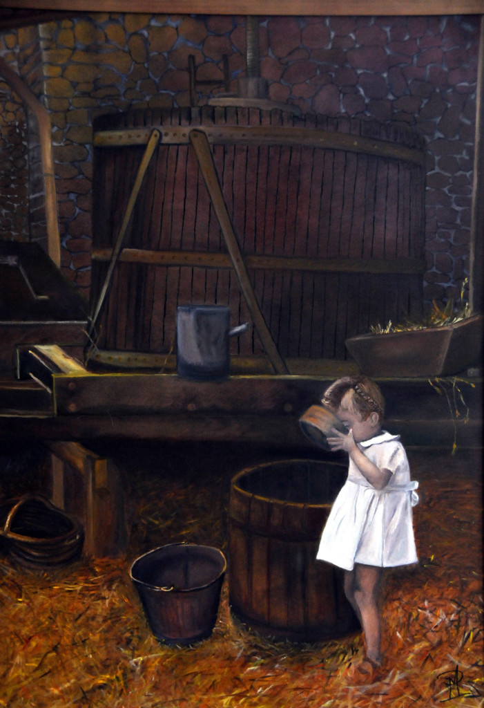 """LES GRANDES VACANCES-HUILE SUR TOILE-30""""x40""""-965.$-(INSPIRATION DU PHOTOGRAPHE R.DOINEAU)"""