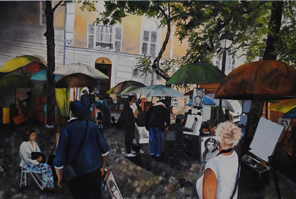 Lyne Gendron. Place du Tertre, Montmartre, Paris 24 x 36-2020