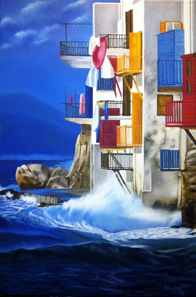 """Shirley Castrillon. La grèce. Huile sur toile. 16""""x24""""-2012"""