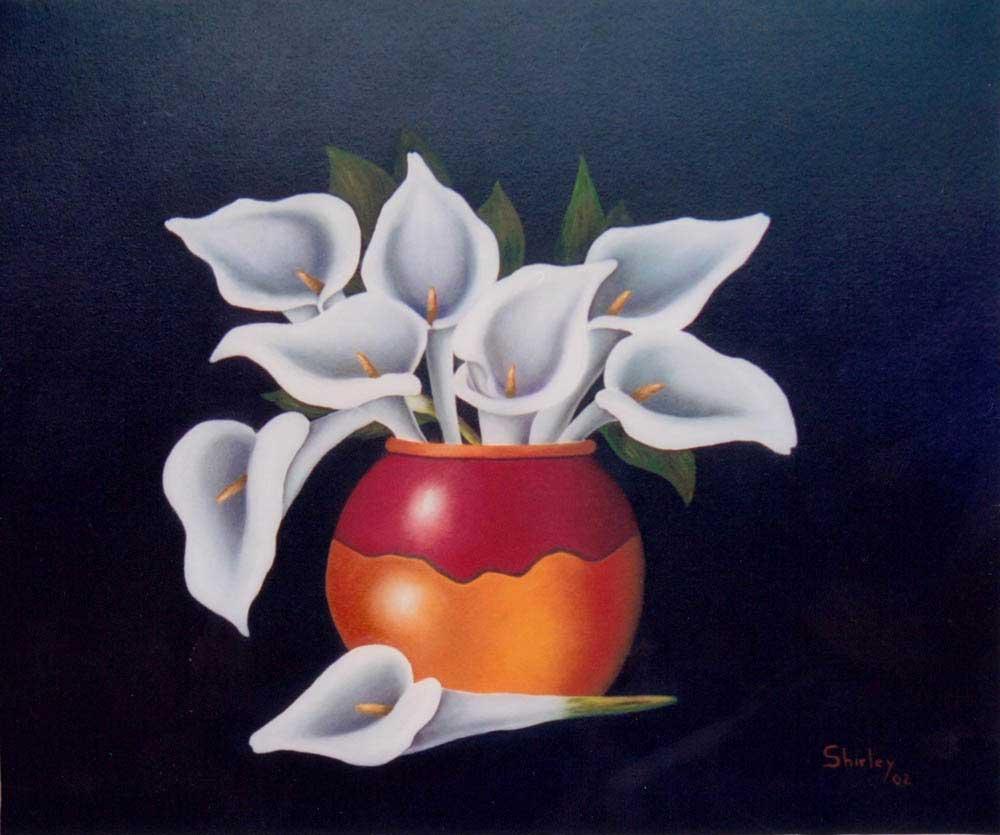 Fleurs Mexicaines (Inspiration, artiste inconnu). Huile sur toile,2002