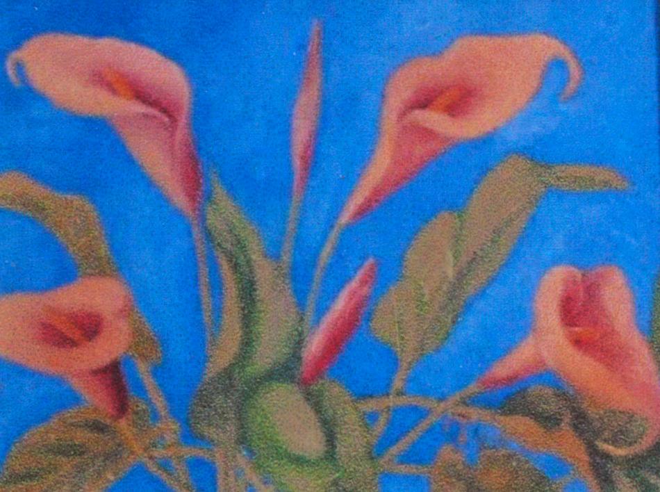 Florence Lévesque. Fleurs rouges. Huile sur toile