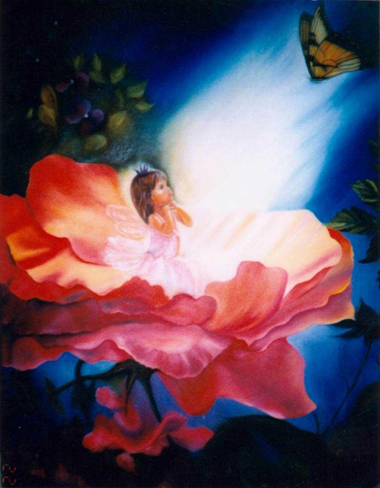 "Shirley Castrillon. Le papillon d'or. Inspiration de Mary-baxter -16"" X 24"" - 2000"