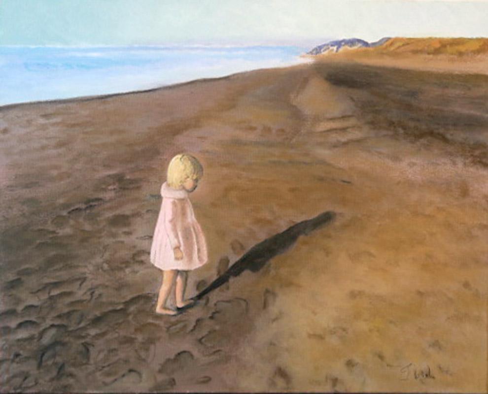 """Florence Lévesque. A la plage. Huile sur toile. 16""""x20"""". 2019"""