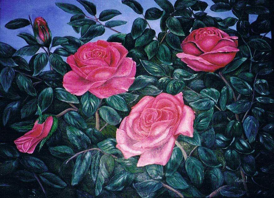 Florence Lévesque. Rose.Huile sur toile.