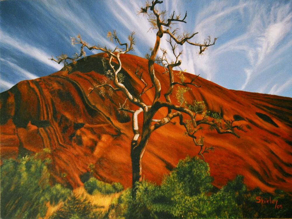 "Shirley Castrillon-Uluru Australie-Inspiration photographique ( photohraphe inconnu)  12""X16"" 2005"