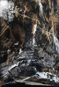 """Normand Sénéchal. """"Fragment#9"""". Série Paysages Intérieurs. 2018 Techniques mixtes sur bois.18poX12po. 2009-2018"""