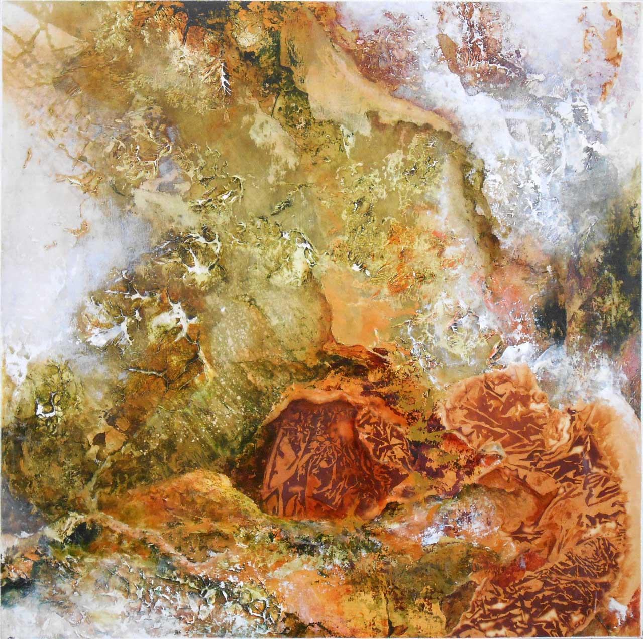 """Normand Sénéchal Rust Art Série Paysages Intérieurs. 2016 - techniques mixtes sur bois - 25"""" X 25"""