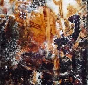 Normand Sénéchal. Série Rust-Art. Techniques mixtes sur toile. 8poX8po. 2018