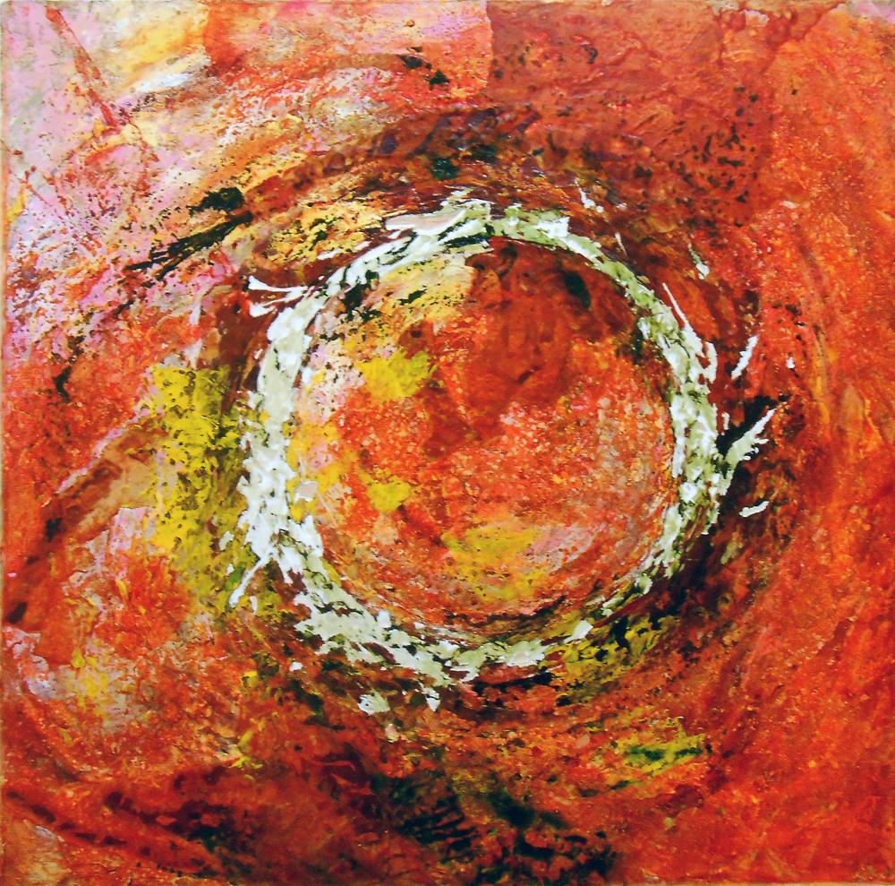 """NORMAND SÉNÉCHAL - HISTOIRE D""""O"""" - SÉRIE RUST -ART 2016 -  TRANSFERT  DE ROUILLE ET TECHNIQUE MIXTES SUR BOIS 18'X18"""""""
