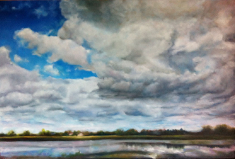 "Carmela Fuda - Clouds over the River - Nuages sur la rivière - 24"" x 36"""