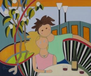 """Marie-Thérèse. L'apéro. Huile sur toile. 20""""x 24""""- 2021"""