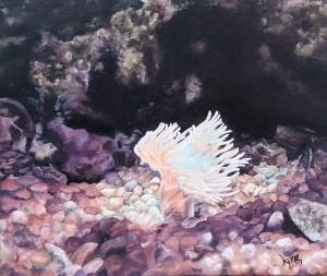 Lyne Bisaillon. L'Ana mone. Huile sur toile 10''x12''